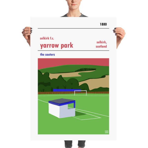A retro poster of Selkirk FC and Yarrow Park