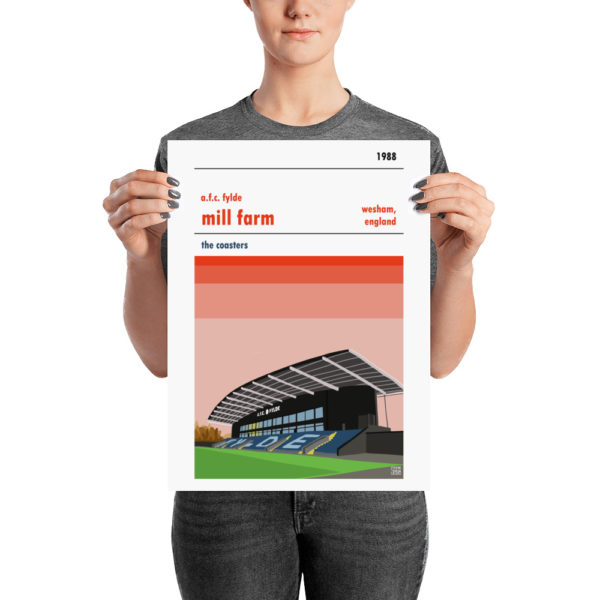 A football poster of Mill Farm and AFC Fylde