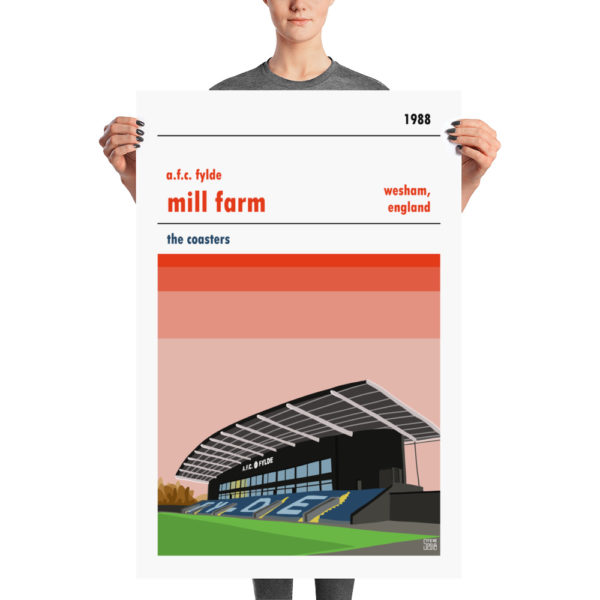 A large football poster of AFC Fylde and Mill Farm. The Coasters