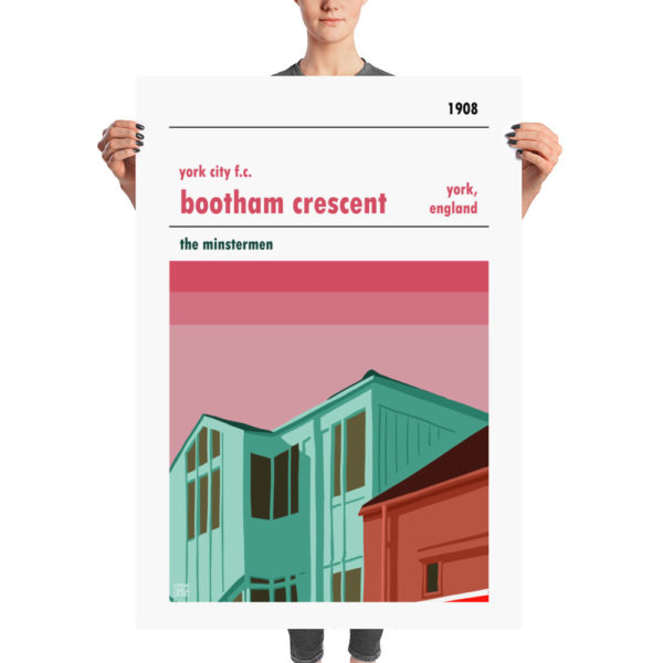 A huge football poster of York City FC and Bootham Crescent