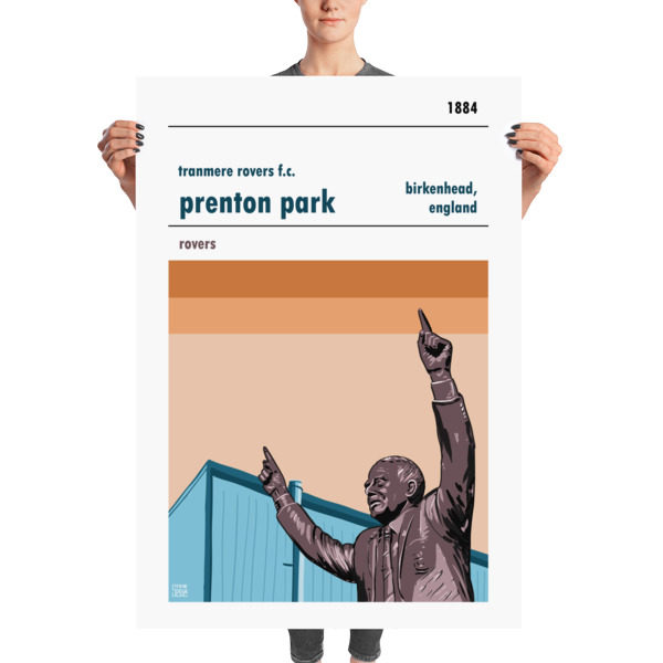 A huge football poster of Preston Park and Tranmere Rovers FC