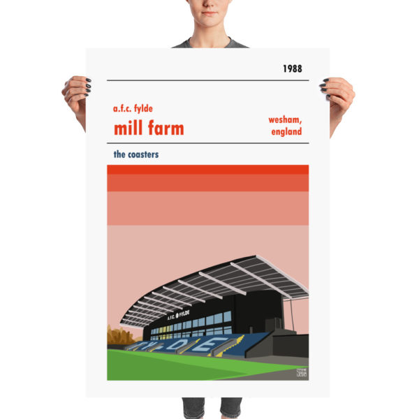 A huge retro football poster of Mill Farm and AFC Fylde