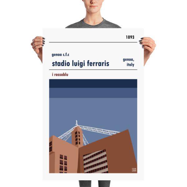 A large stadium poster of Genoa and Stadio Luigi Ferraris