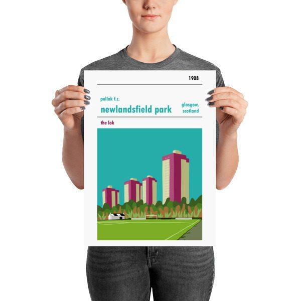 A medium football poster of Newlandsfield Park and Pollok FC, Glasgow