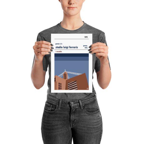 A small calico poster of Genoa FC and Stadio Luigi Ferraris