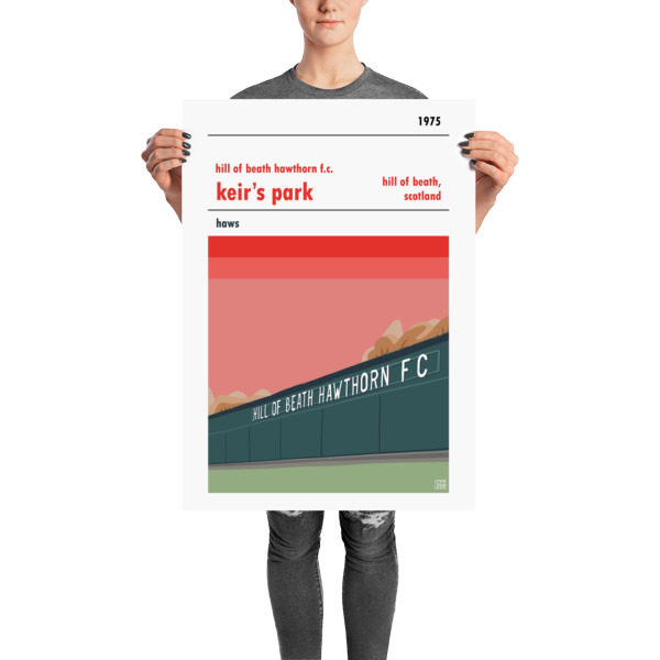 A Hill of Beath Hawthorns FC and Keir's Park retro football poster