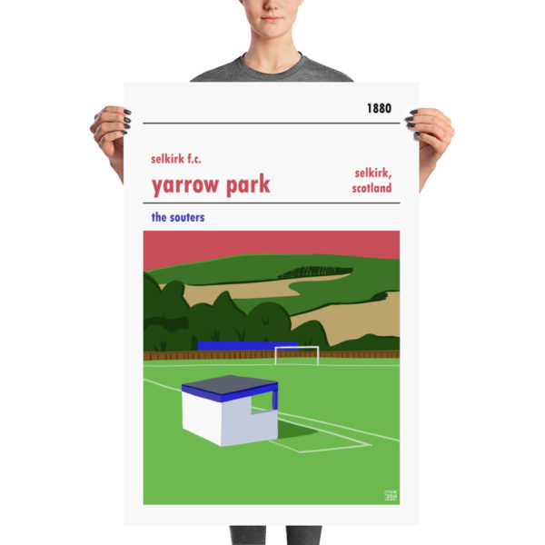 A large stadium poster of Yarrow Park and Selkirk FC