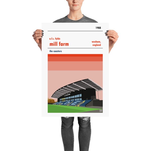 A retro stadium poster of AFC Fylde and Mill farm