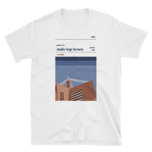 A white t shirt of Genoa CFC and Stadio Luigi Ferraris