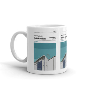 A coffee mug of East Stirlingshire FC and Falkirk Stadium