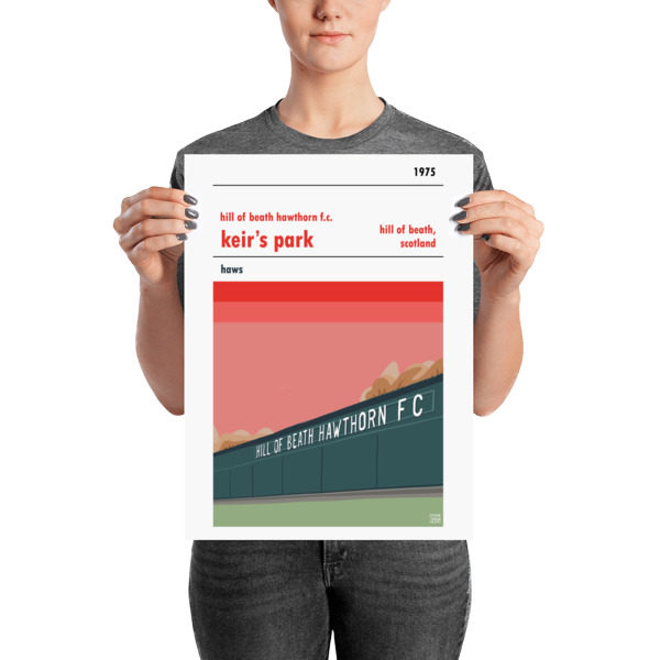 A retro poster of Hill of Beath Hawthorn FC and Keir's Park