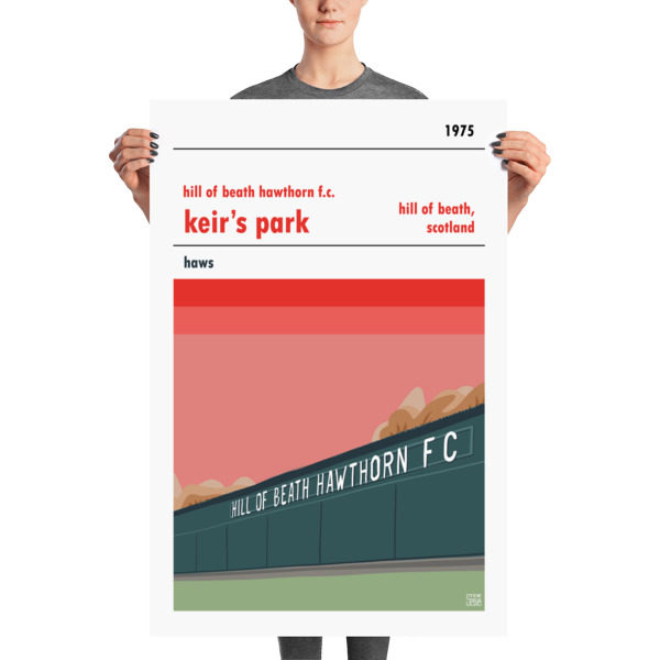 A vintage football poster of Hill of Beath Hawthorn FC and Keir's park