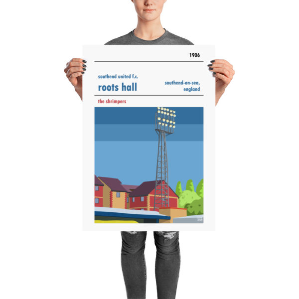 A retro football poster of Southend United and Roots Hall, the Shrimpers