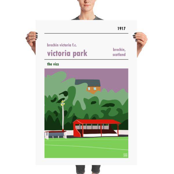 A huge poster of Victoria Park and Brechin Vics