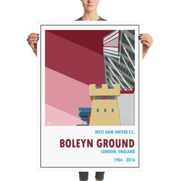 A huge football poster of the Boleyn Ground and West Ham United
