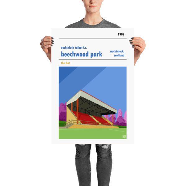 A retro football poster of Auchinleck Talbot Football Club and Beechwood Park