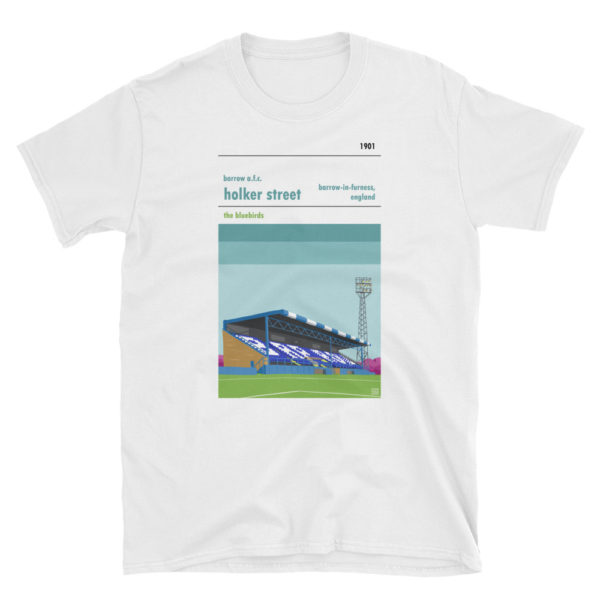 A white t shirt of Barrow AFC and Holker Street