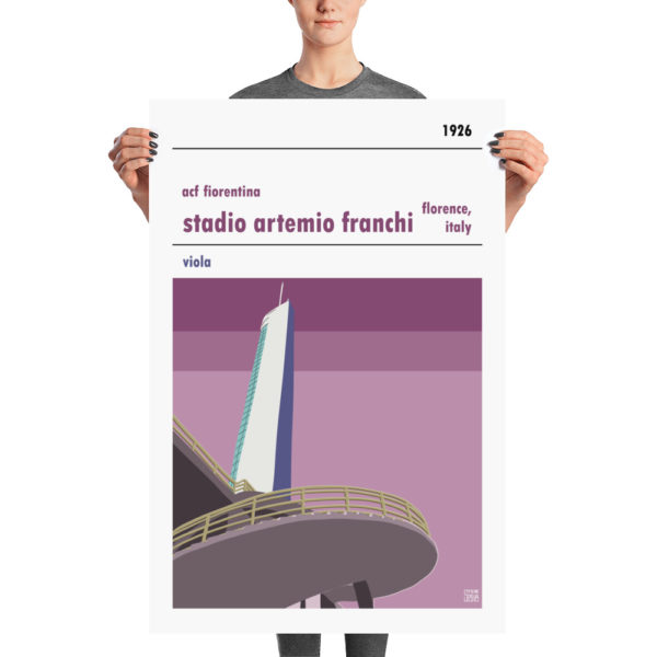A large retro football poster of Fiorentina and Stadio Artemi Franchi