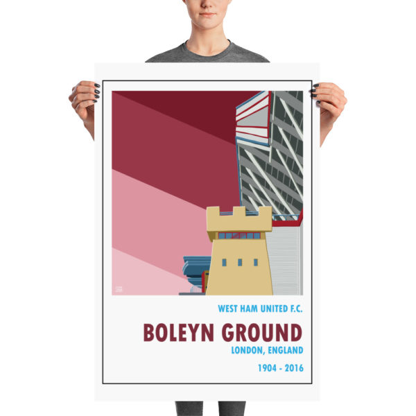 A large football poster of West Ham United FC and Boleyn Ground