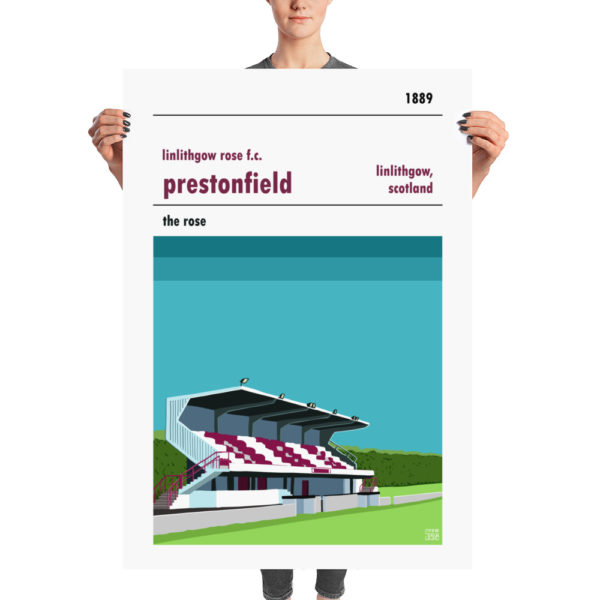 A huge stadium poster of Prestonfield and Linlithgow Rose