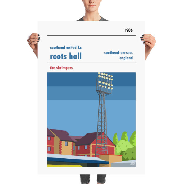 A huge football poster of Southend United and Roots Hall