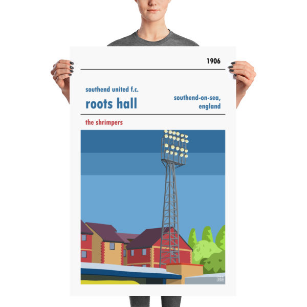 A large stadium poster of Roots Hall and Southend United FC
