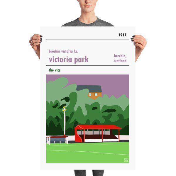 A football poster of Brechin Vics and Victoria Park