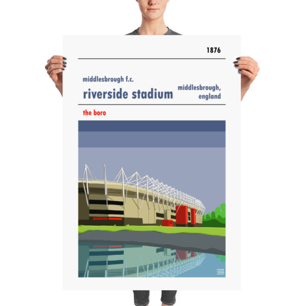 A large stadium poster of the Riverside and Middlesbrough FC