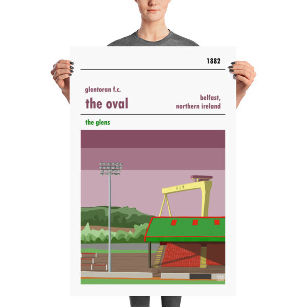 A large stadium poster of Glentoran and the Oval, Belfast