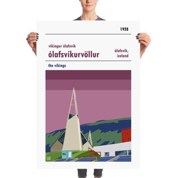 Massive football poster of Víkingur Ólafsvík and Ólafsvíkurvöllur