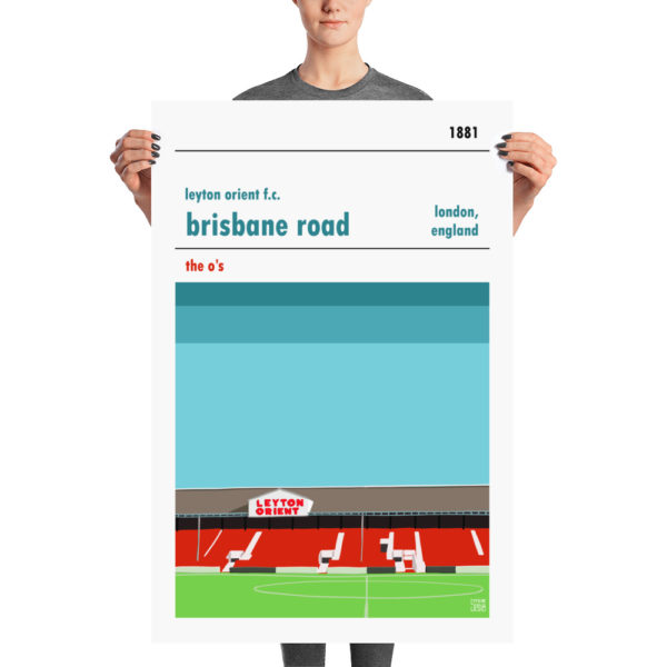 A large English Football print of Leyton Orient FC and Brisbane Road
