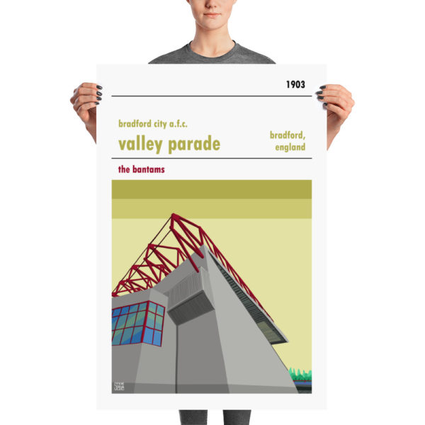 A large football print of Bradford City and Valley Parade