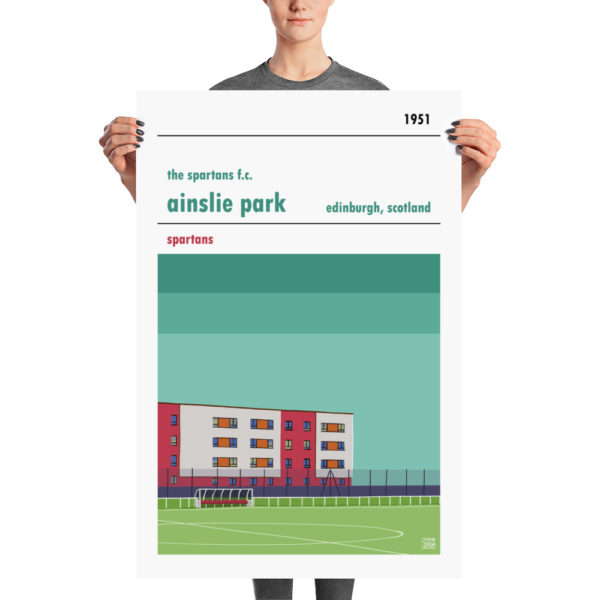 A large stadium poster of Ainslie Park and Spartans FC