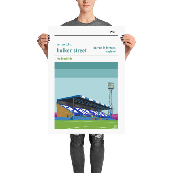 Retro football poster of Holker Street and Barrow A.F.C.