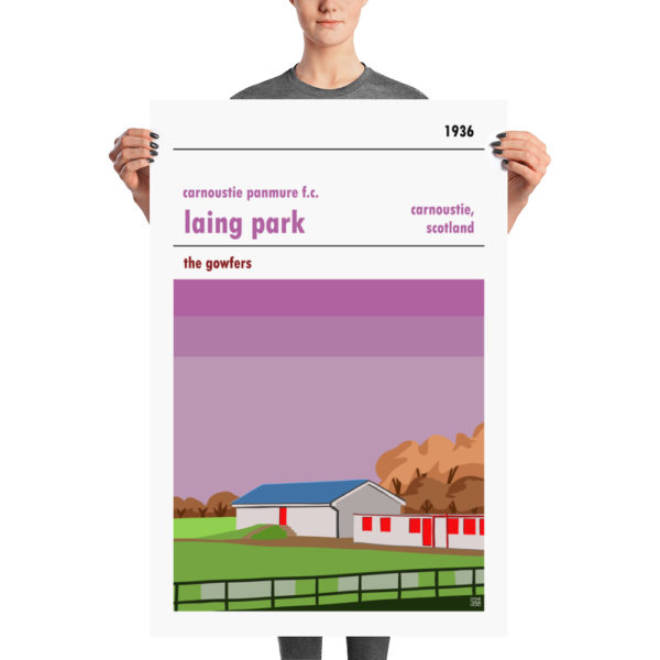A large retro poster of Carnoustie Panmure and Laing Park