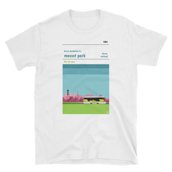 A white t shirt of Forres Mechanics FC and Mosset Park