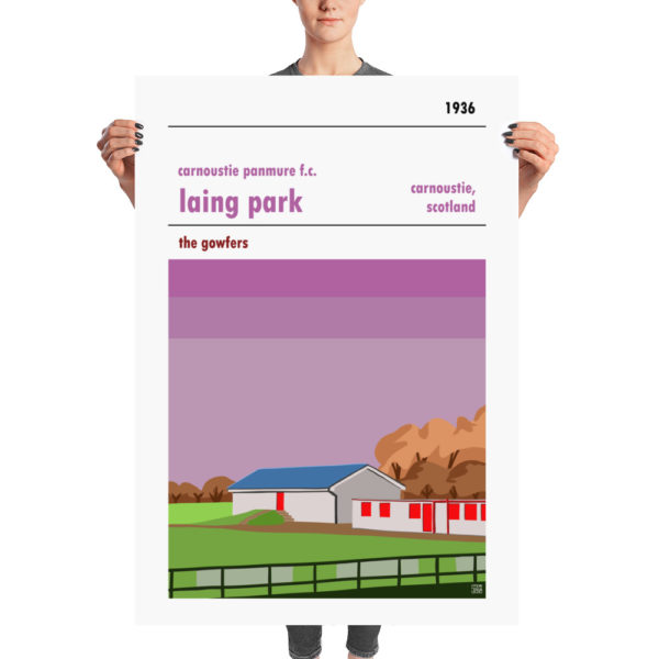 A huge stadium poster of Carnoustie Panmure and Laing Park