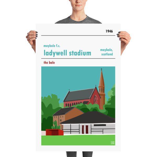 A large Ladywell Stadium and Maybole FC football poster