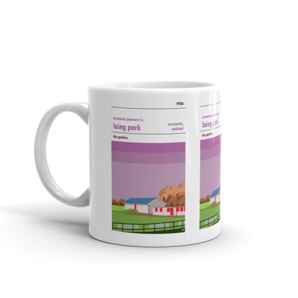 A coffee mug of Carnoustie Panmure, the Gowfers, and Laing Park