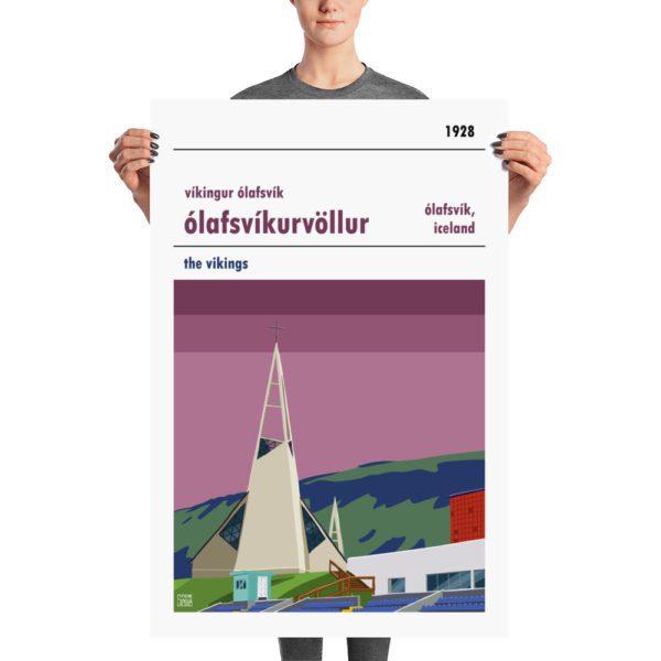 Huge football poster of Víkingur Ólafsvík and Ólafsvíkurvöllur