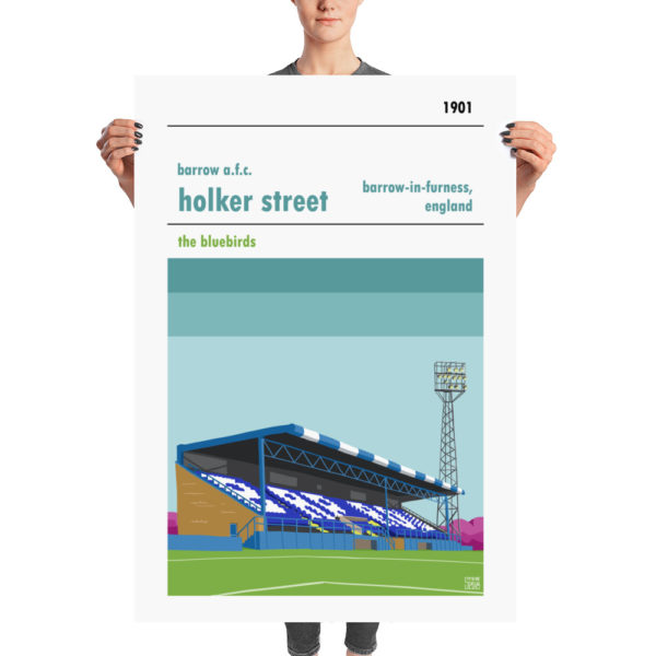 A huge football poster of Holker Street and Barrow A.F.C.