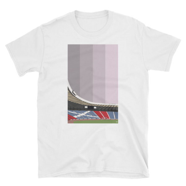 A white t shirt of Hampden Park, Glasgow, clean design