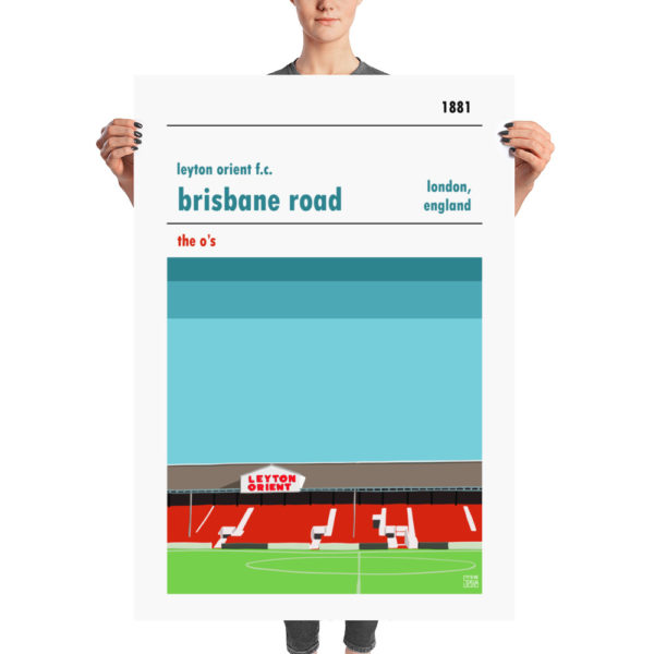 A huge football poster of Leyton Orient FC and Brisbane Road