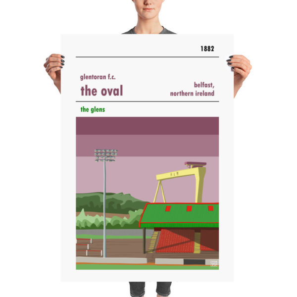 A huge retro poster of the Oval and Glentoran, Belfast