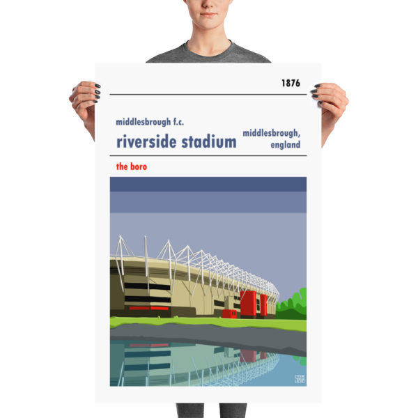 A huge stadium poster of Middlesbrough FC and the Riverside
