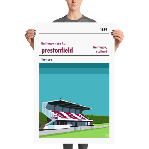 A large football poster of Prestonfield FC and Linlithgow Rose