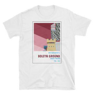 A white t shirt of Boleyn Ground and West Ham United