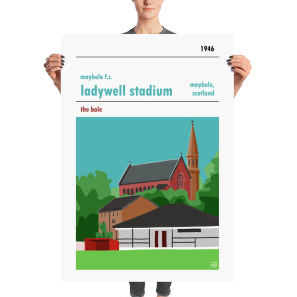 A huge football poster of Maybole FC and Ladywell Stadium