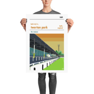 A retro football print of Bath City FC and Twerton Park