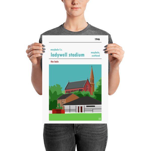 A medium sized football poster of Maybole FC and Ladywell Stadium